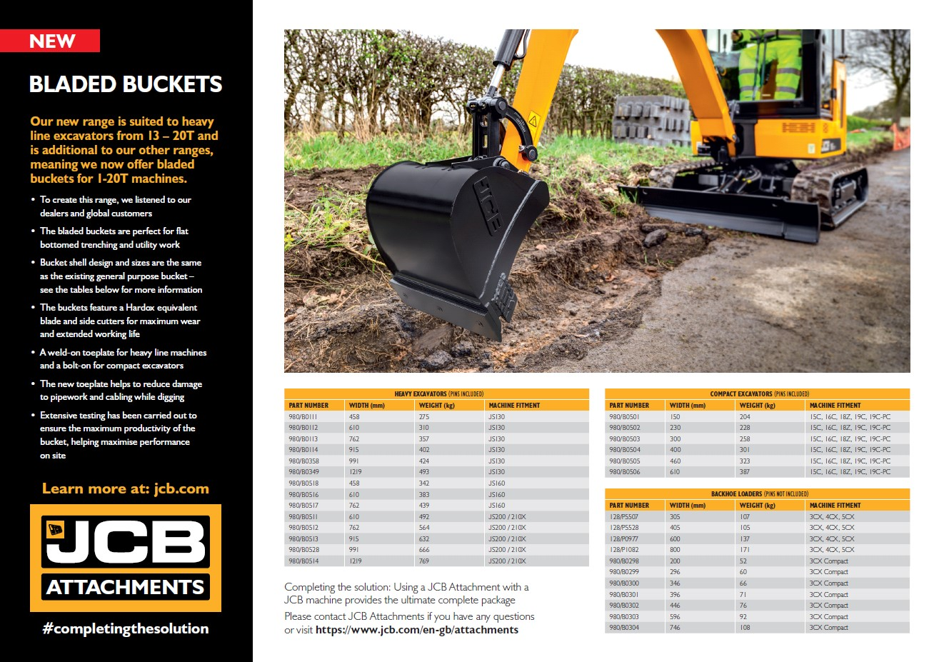 Cover Image of 1086 - JCB Attachments - Bladed Bucket Leaflet A4