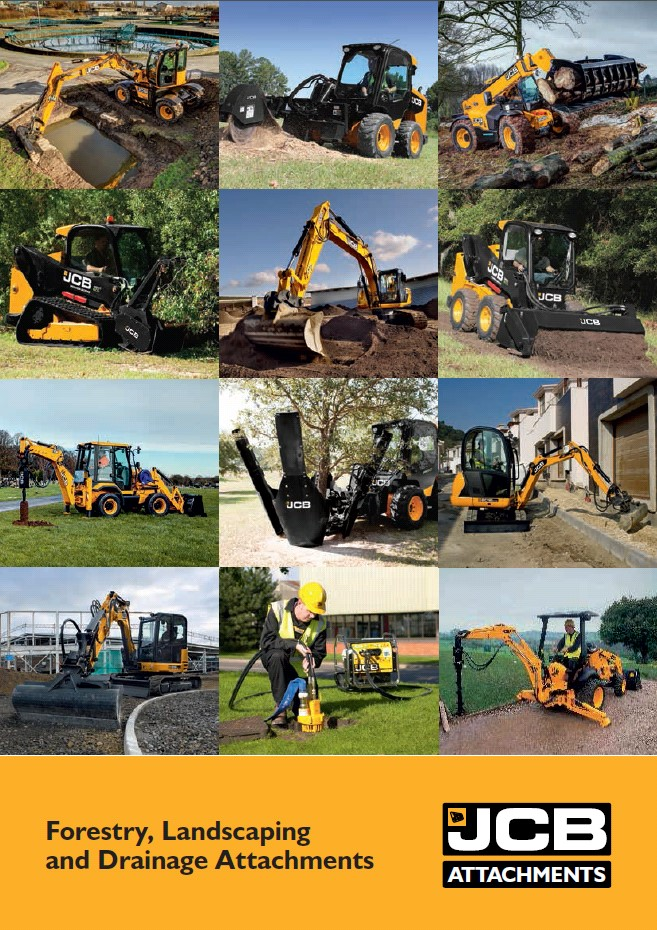 Cover Image of 1210 - JCB Attachments - Forestry, Landscaping and Drainage Attachment Brochure Portrait