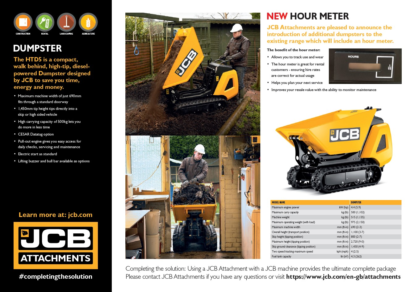 Cover Image of JCB Attachments HTD5 Dumpster Web Brochure