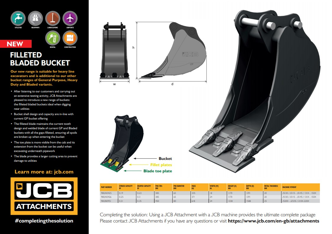 Cover Image of 1491 - JCB Attachments - Filleted Bladed Bucket Leaflet without bleed_3PN