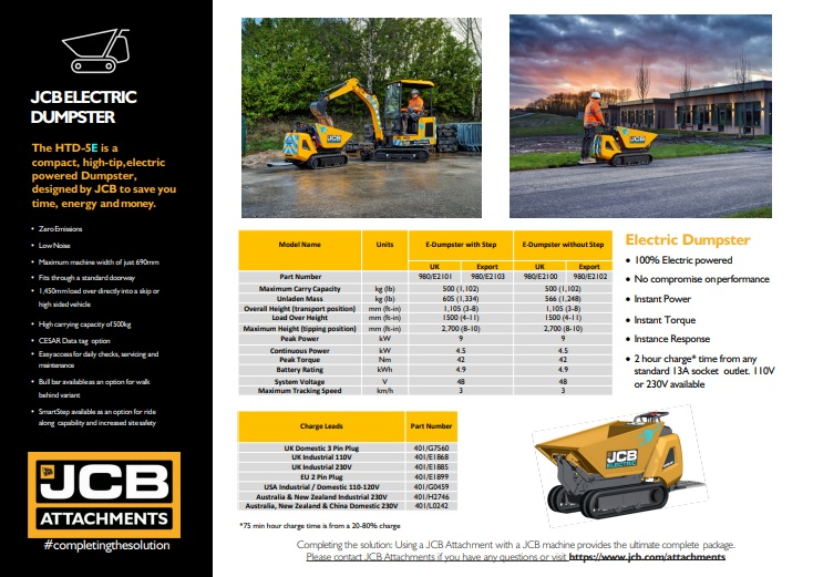 Cover Image of JCB HTD-5E Electric Dumpster Brochure